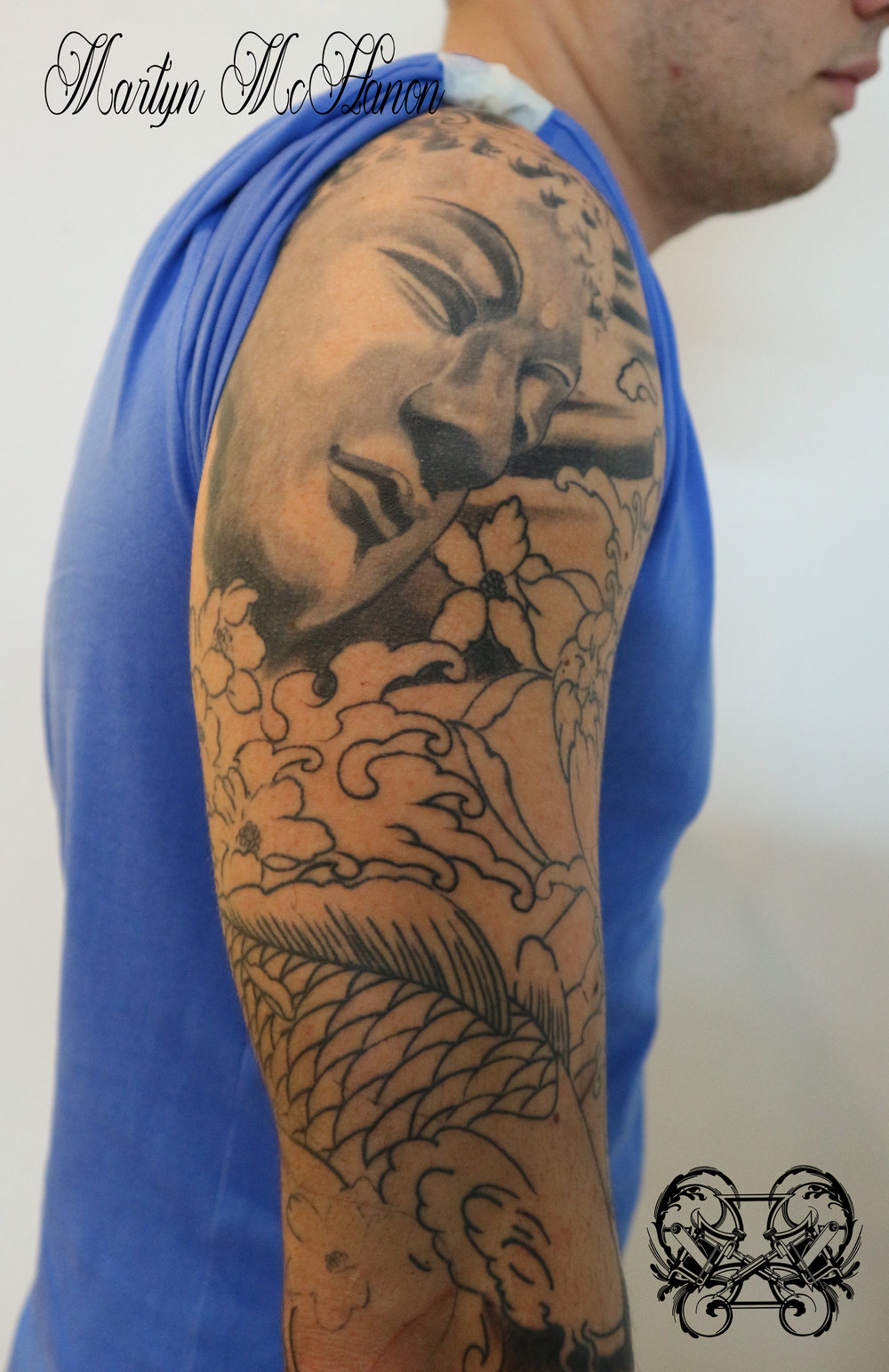 Martyn buddha and koi sleeve WIP upper arm.jpg