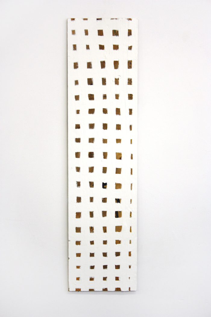 "Grid Collection (White Grid) , 2014, latex paint on plywood, 48"" x 12"""