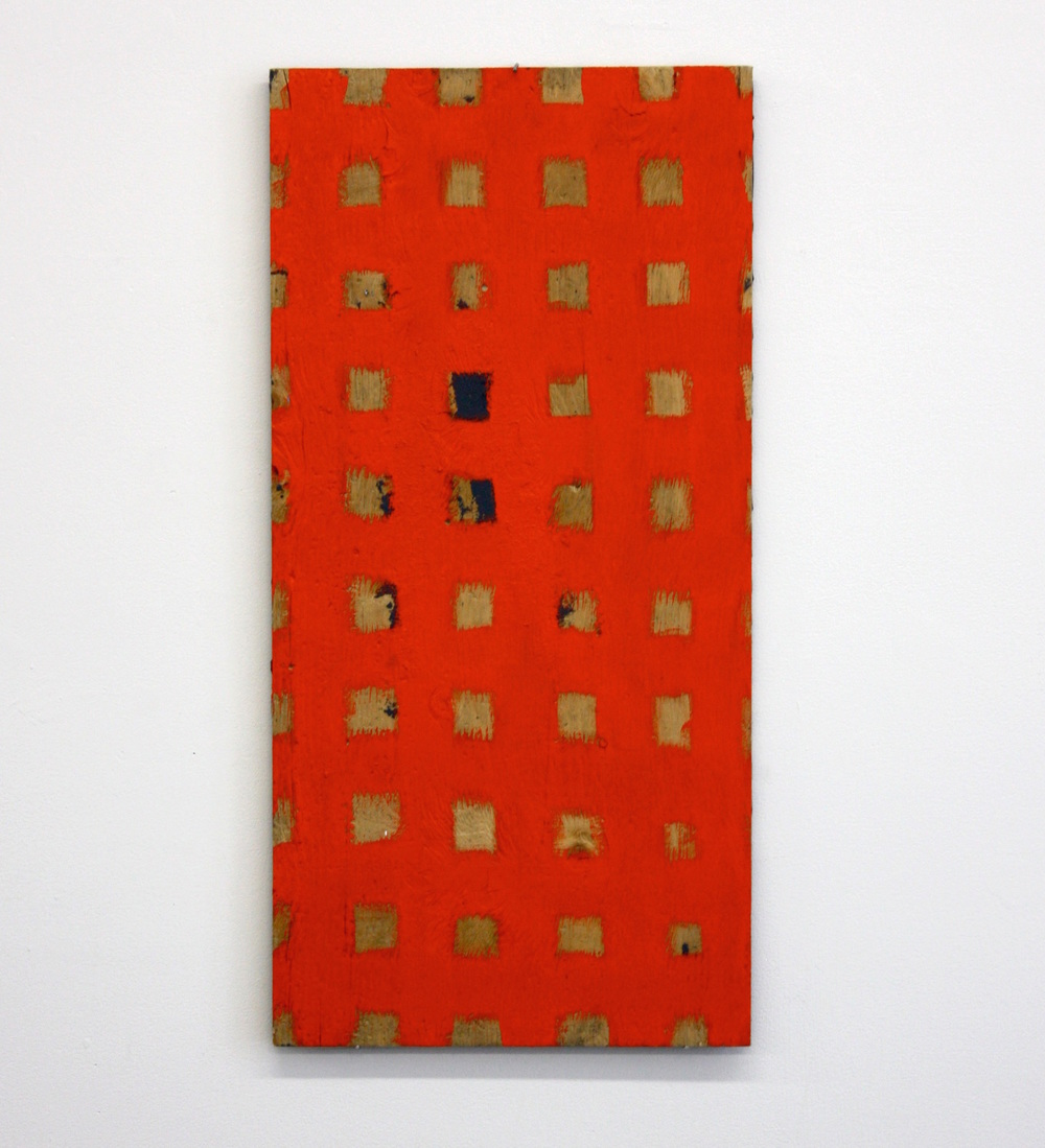 "Grid Collection (Red Grid) , 2014, latex paint on plywood, 24"" x 12"