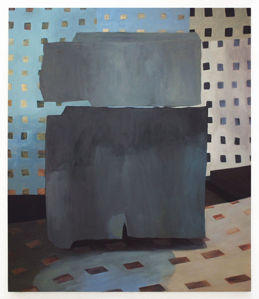 "Grit and Grid, 2015-16, oil on canvas, 84""x72"""