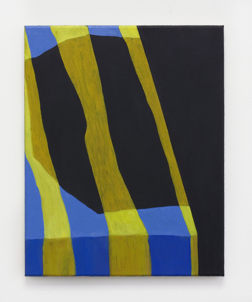 "Yellow Striped, 2017, oil on canvas, 20""x16"""