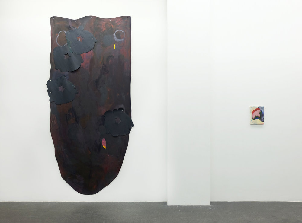 "Model for Budding , 2018, oil on canvas, metal grommets approx. 120"" x 56""  ""Mother Tongue"", 2018, installation view Dynamo Arts Association, Vancouver (Right: work by Gabriela Godoi)"