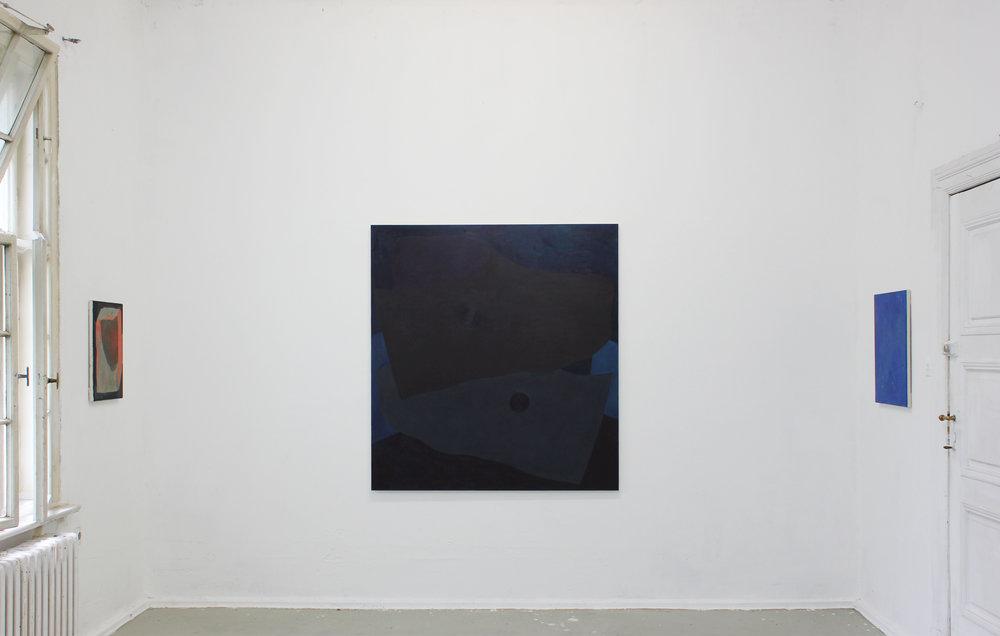 "GlogauAIR Residency, 2017, Berlin  Centre:  Cane and Cod , 2017, oil on canvas, 60"" x 54"""