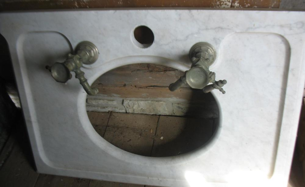 Very unusual marble bathroom sink with all original nickel hardware   Measures 23 inches wide from. Bathroom Pieces   Sycamore HomeStead