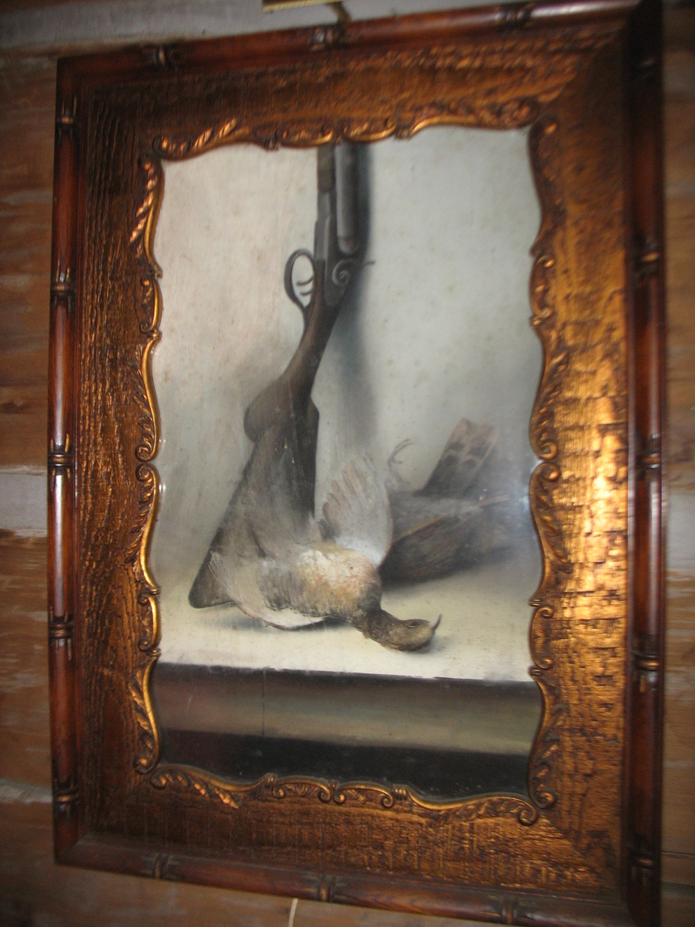 Very unusual Charcoal of a hunting scene. In original frame it is a hunting gun with the pheasant at the butt of the gun on a table. Measures 34 inches in height and 24 inches in width. ca: 1880's/90's