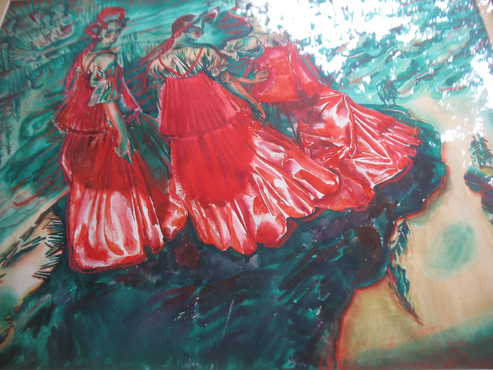 This is a wonderful watercolor of Ukranian Folk Dancers.  It was purchased in Russia in 1989 before Russia was divided. Lovely vibrant colors of red and green. Measures 21 inches in height X 25 inches in width. Price upon request