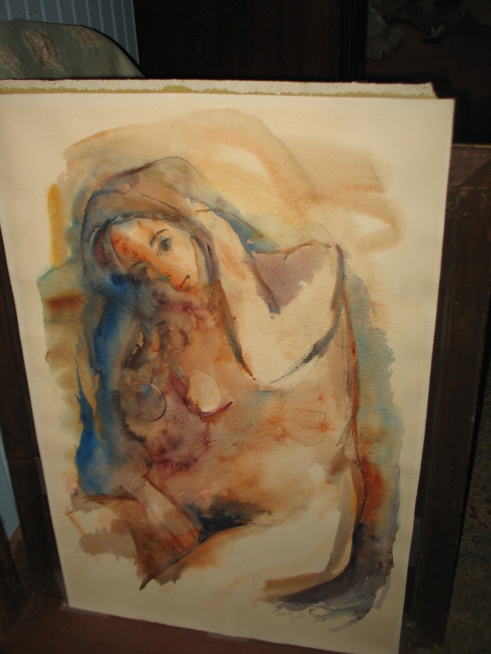 This watercolor is by the famous Jamaican artist Barrington Watson. It was purchased at an exhibit at Morehouse College in Atlanta in 1970. Signed on the lowerriightby the artist. Numbered 1/2. The title of the watercolor is 'Nude 1'. It measures 35 inches X24 inches. Price upon request