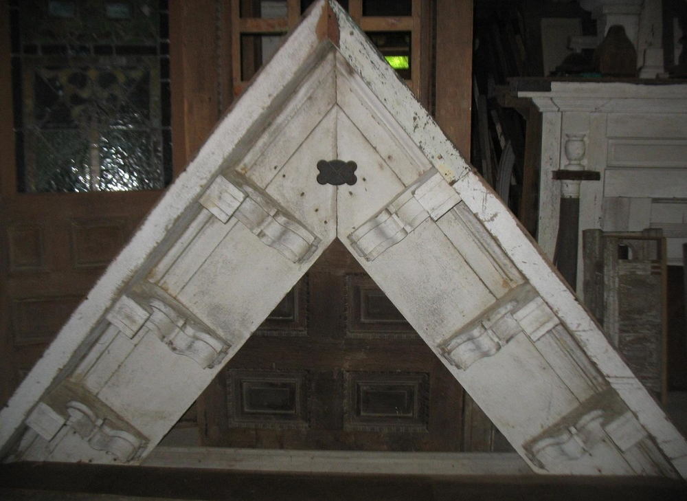 Victorian Gable from house in Gallatin, Tennessee.  Measures 10 feet across bottom and 7 feet tall at point Has original white paint.