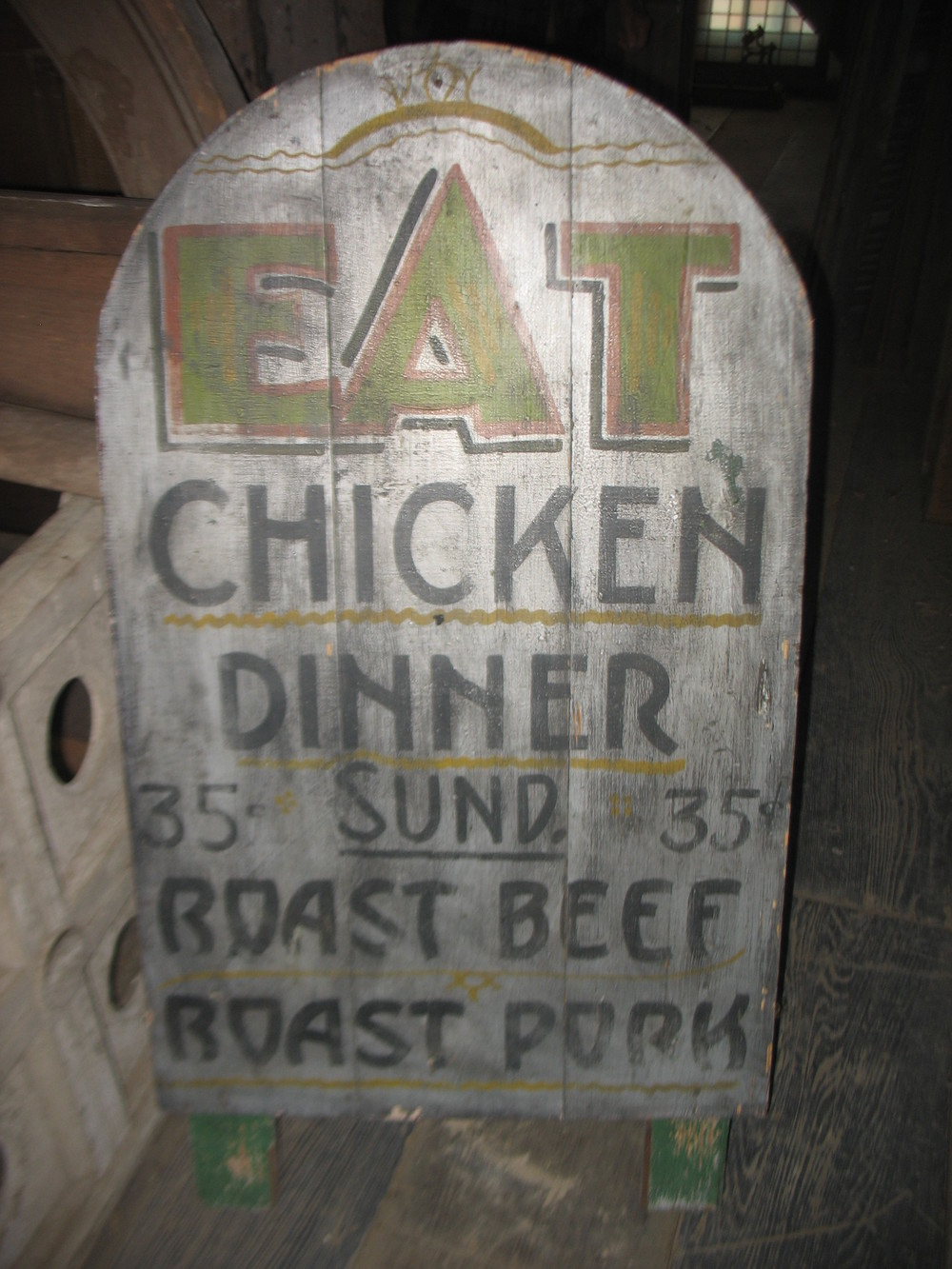 1920s Advertising Sign for restaurant in Kentucky showing prices for Sunday dinner. Measures 4 feet by 2 1/2 feet.