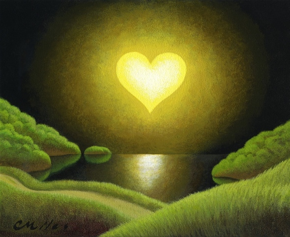 Moon Heart, Acrylic on Panel, 8 x 10 inches