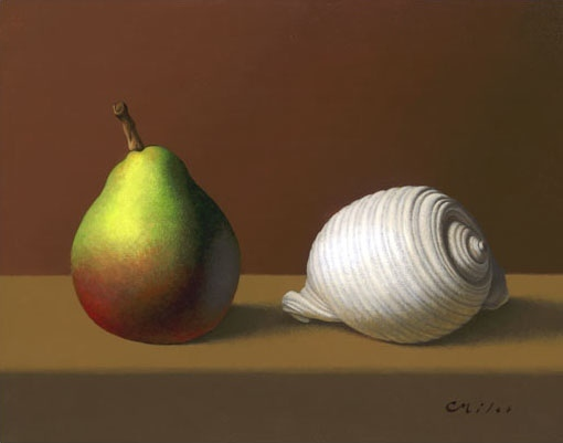 Pear & Shell, Acrylic on Panel, 11 x 14 inches
