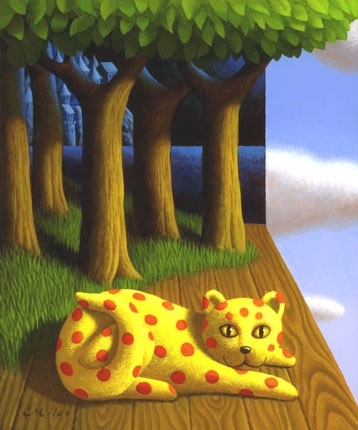 Enchanted Cat, Acrylic on Panel, 11 x 14 inches