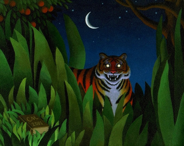 Tyger, Tyger, Acrylic on Panel, 8 x 10 inches