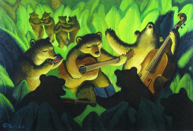 Bear Song, Acrylic on Panel, 10.25 x 15.25 inches