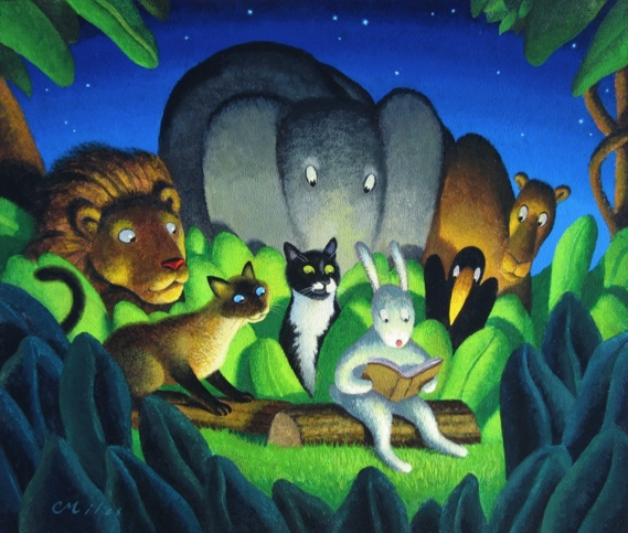 Evening Story with Cats, Acrylic on Panel, 10 x 13 inches