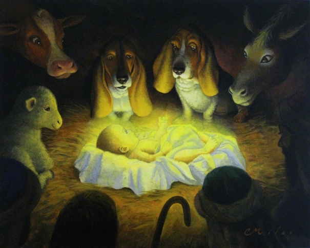Manger Hounds, Acrylic on Panel, 16 x 20 inches