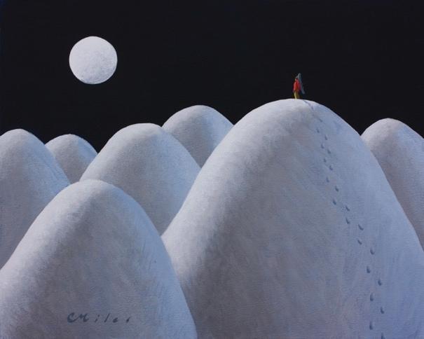 MoonstruckOlympus Glow, Acrylic on Panel, 11 x 14 inches