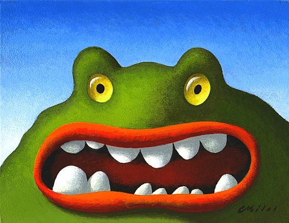 Mad Frog, Acrylic on Panel, 6 x 8 inches