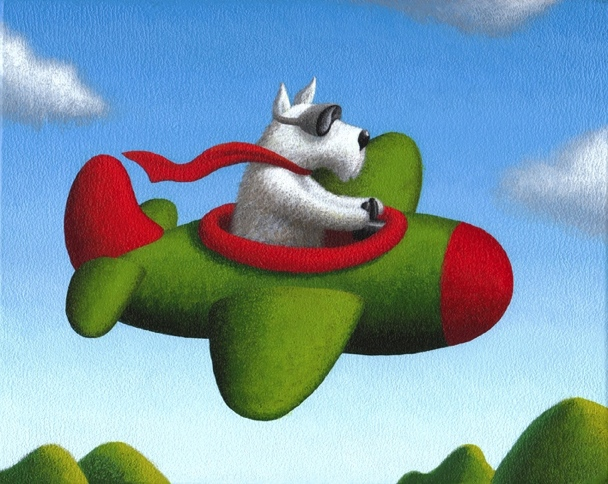 Frequent Flyer, Acrylic on Panel, 8 x 10 inches