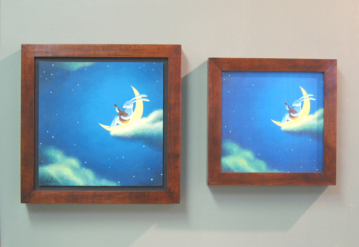 Shown here is a framed original (left) next to a framed laser print (right). The color and detail are nearly 100% accurate to the original painting.
