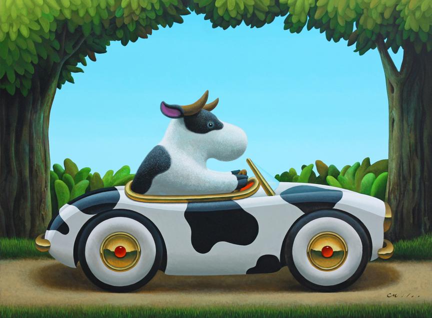 Cow Car 2, Acrylic on Canvas, 72 x 96 inches