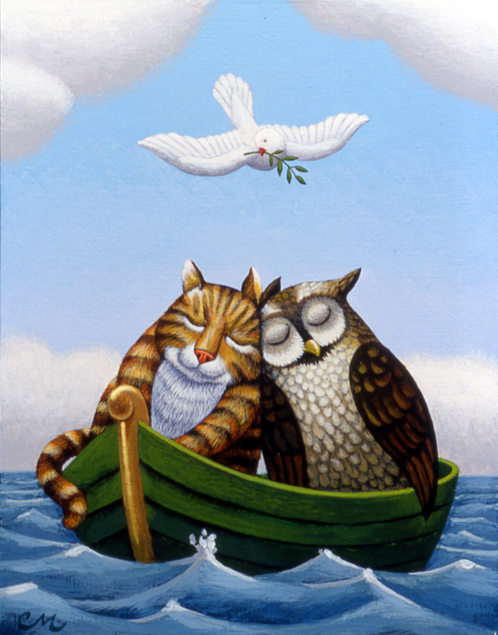 The Owl and the Pussycat, Acrylic on Panel, 8 x 10 inches