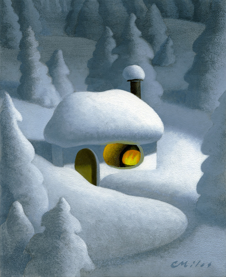 Swiss Cabin, Acrylic on Panel, 8 x 10 inches