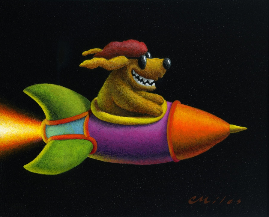 Rocket Dog, Acrylic on Panel, 8 x 10 inches