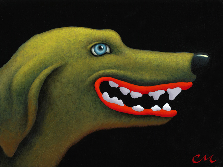 Good Dog, Acylic on Panel, 9 x 12 inches
