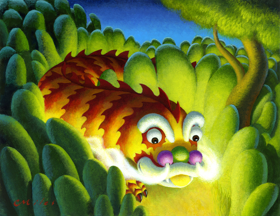 The friendly Dragon, Acrylic on Panel, 11 x 14 inches