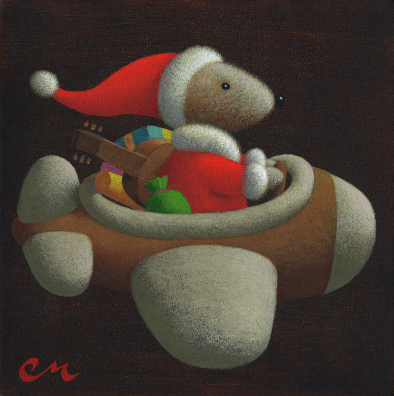 Happy Holidays!, Acrylic on Panel, 8 x 8 inches