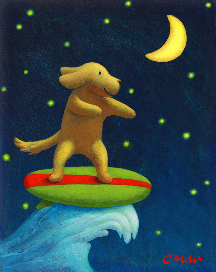 Night Rider, Acrylic on Panel, 8 x 10 inches
