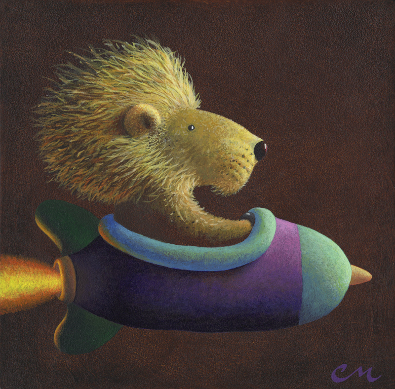 Rocket Lion, Acrylic on Panel, 8 x 8 inches