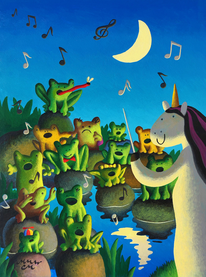 Frog Choir, Acrylic on Panel, 11 x 14 inches