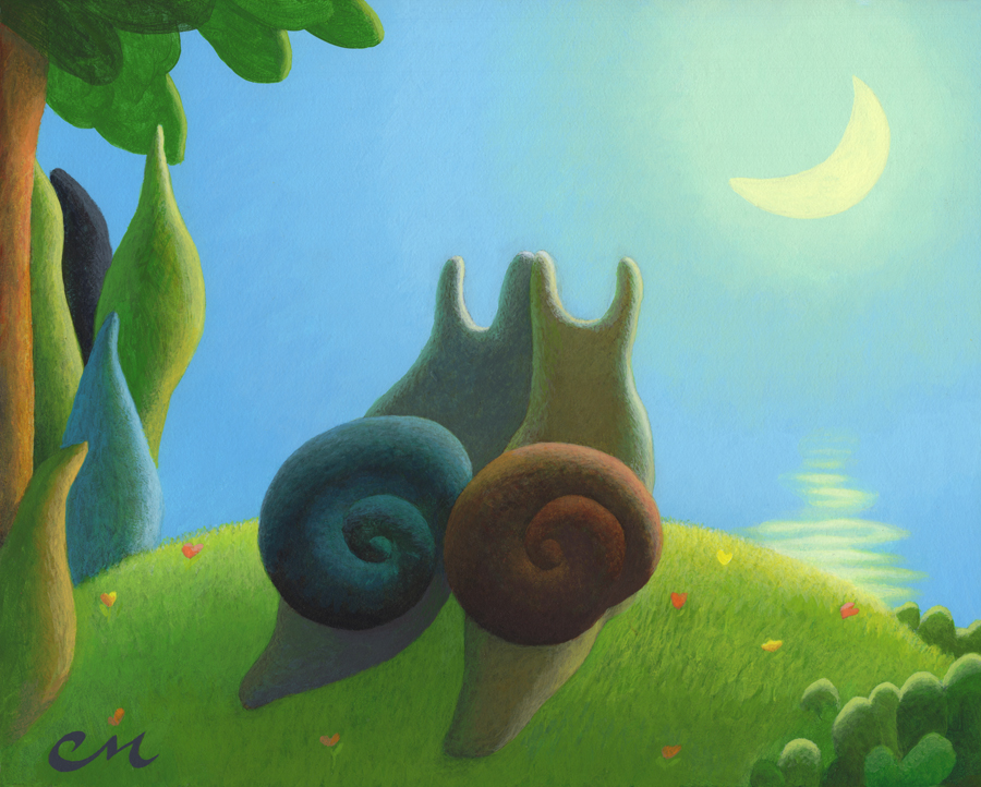 Luv Slugs, Acrylic on Panel, 8 x 10 inches