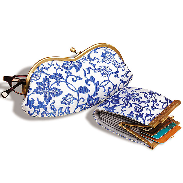 Blue and white brocade personal accessories Smithsonian
