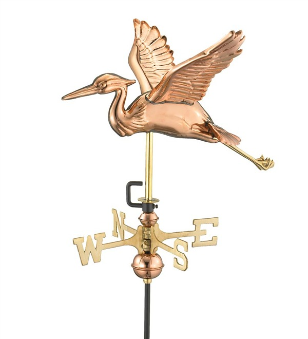 Handcrafted Blue Heron Garden Weathervane With Pole In Polished Copper wind and weather.jpeg