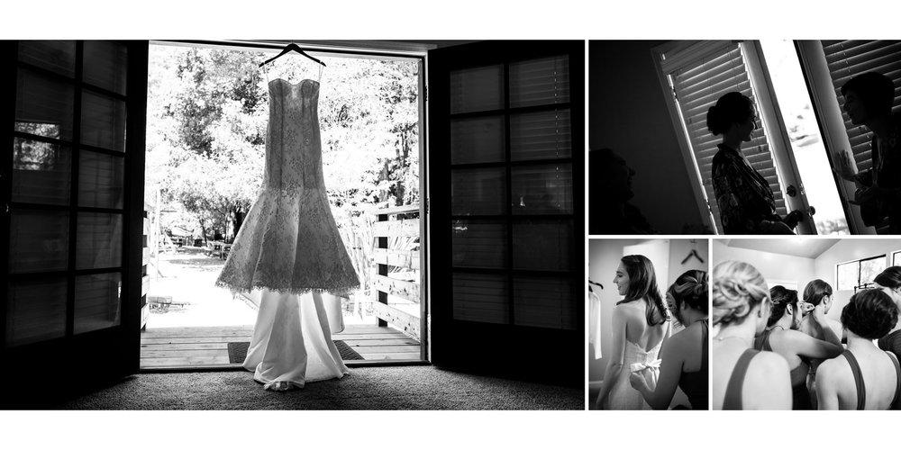 B&W wedding dress, getting ready - Kennolyn Wedding Photos in Soquel - by Bay Area wedding photographer Chris Schmauch