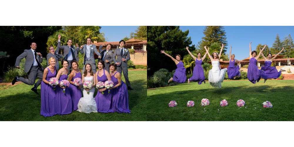 Fun bridal party jumping - Kennolyn Wedding Photos in Soquel - by Bay Area wedding photographer Chris Schmauch