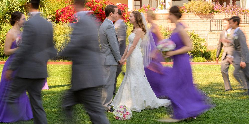 Blurred bridal party B&G focus - Kennolyn Wedding Photos in Soquel - by Bay Area wedding photographer Chris Schmauch