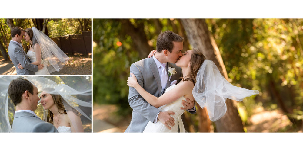 Bride and groom kissing backlit - Kennolyn Wedding Photos in Soquel - by Bay Area wedding photographer Chris Schmauch