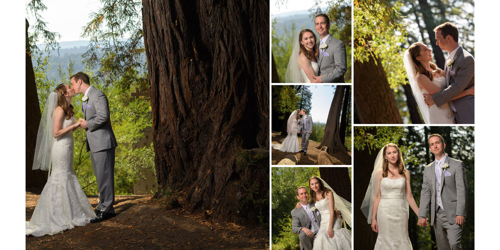 Bride and groom portraits in redwood forest - Kennolyn Wedding Photos in Soquel - by Bay Area wedding photographer Chris Schmauch
