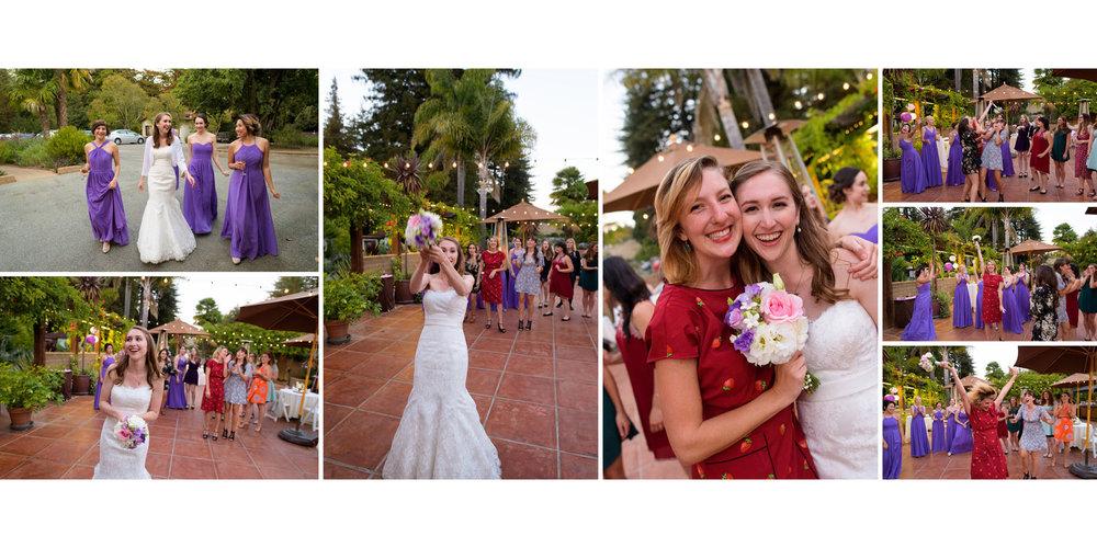 Bouquet toss - Kennolyn Wedding Photos in Soquel - by Bay Area wedding photographer Chris Schmauch