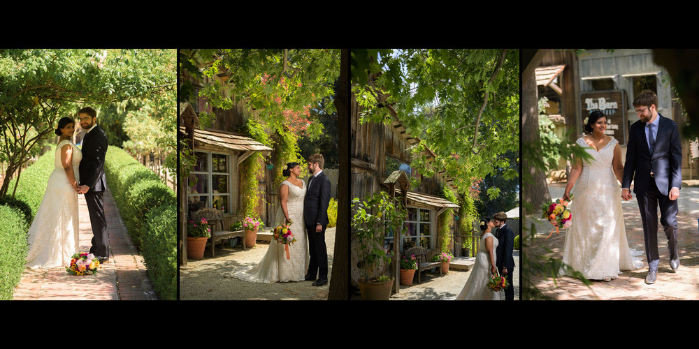Bride and groom formals – Allied Arts Guild – Menlo Park wedding photos – by Bay Area wedding photographer Chris Schmauch