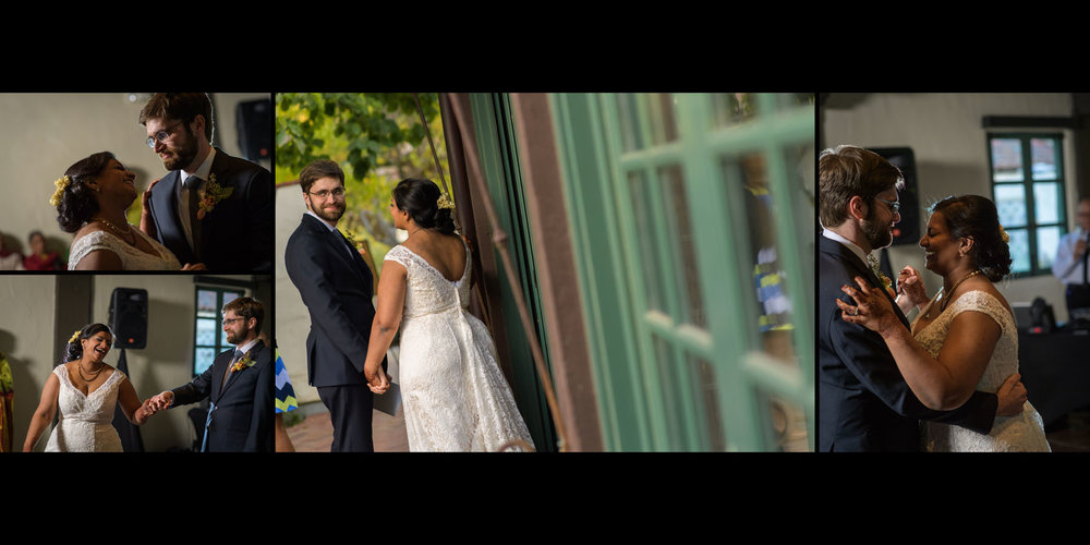 Bride and groom first dance – Allied Arts Guild – Menlo Park wedding photos – by Bay Area wedding photographer Chris Schmauch