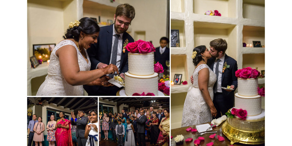 Cutting the cake – Allied Arts Guild – Menlo Park wedding photos – by Bay Area wedding photographer Chris Schmauch