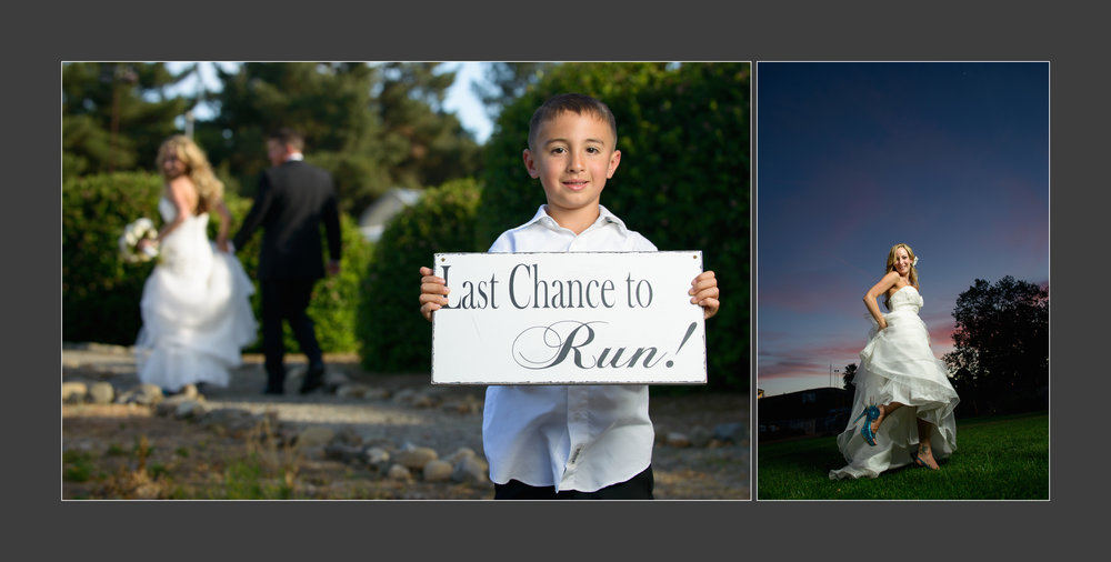 Last chance to run! Wedding photos taken by Chris Schmauch at Goularte Estate in San Martin, California.