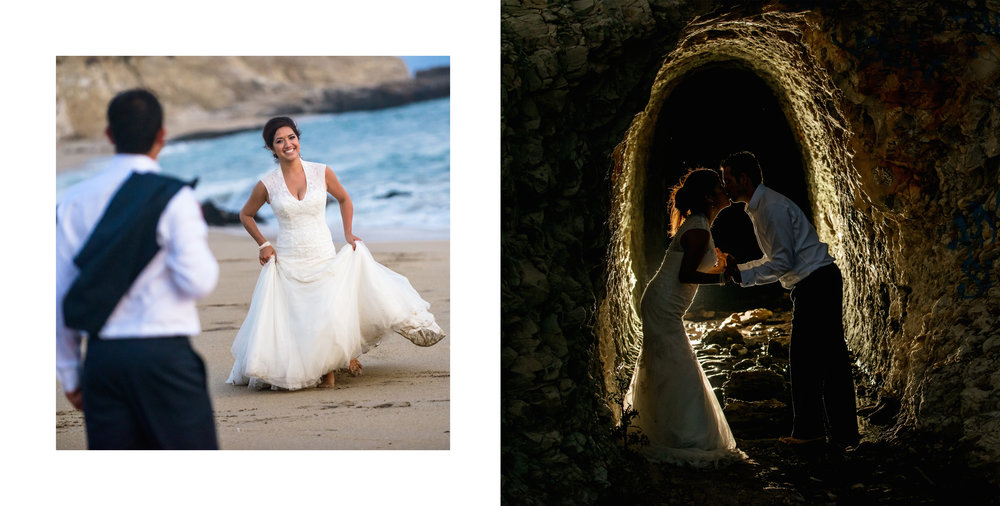 Bride and groom portraits on the beach and backlit in a dark rock tunnel.     Wedding photos taken by Chris Schmauch at Panther Beach in Santa Cruz, California.