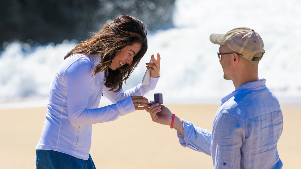 Wedding proposal at Panther Beach in Santa Cruz, California