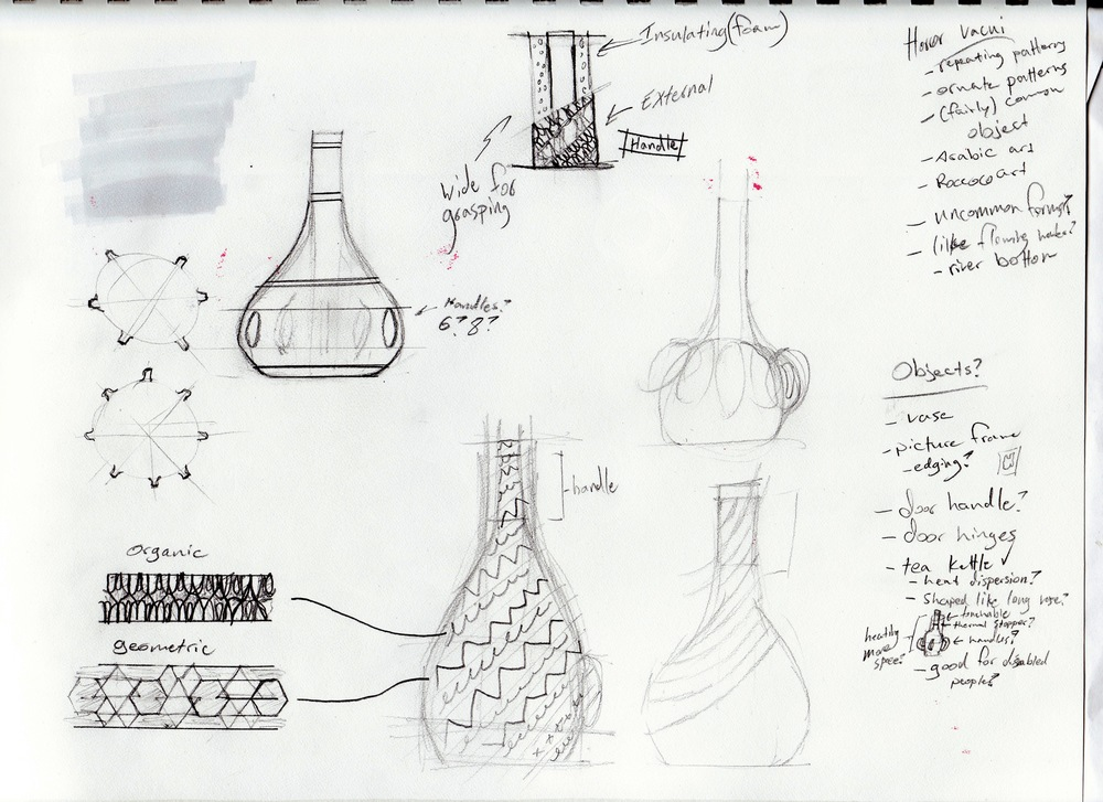 Idea page overview. I wanted to create a concept that combined organic and geometric patterns. I also wanted to make something that would work as both a kettle and vase, for pouring hot beverages. A main use in my mind was within Moroccan tea culture, enjoying fresh hot tea amongst friends. This was further conceptualized by Arabic art that combines repeating patterns that are both geometric and organic, whose craftsmanship and precision fascinates me. However, I would probably create the designs within a software driven environment.